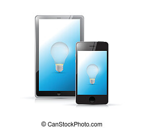 tablet and phone idea lightbulb illustration