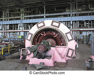 Electric power generator and steam turbine during repair at...
