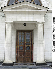 Ancient architecture entrance old wooden door
