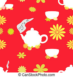 Tea seamless pattern of red tint