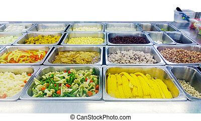 Salad Bar Counter, isolated on white background