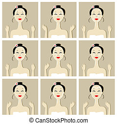 Face massage, illustration with asian woman for your design