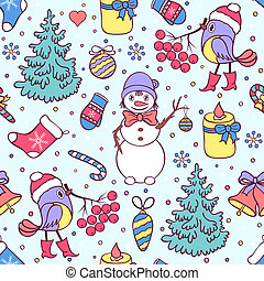 colorful seamless christmas pattern - Vector illustration of...