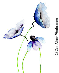 Beautiful Blue flowers, Watercolor painting