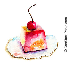 Cake with cherry - Watercolor illustration of cake with...