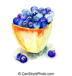 Fresh blueberries in plate, watercolor illustration