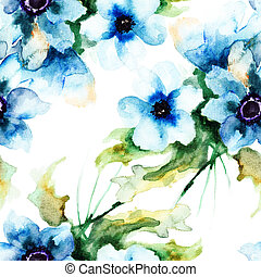 Seamless wallpaper with Summer blue flowers, watercolor...