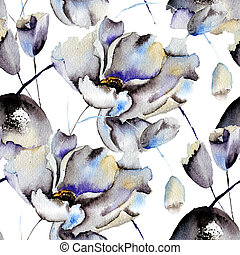 Seamless patterns with Beautiful flowers, watercolor...