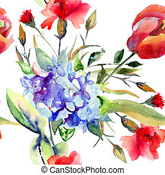 Seamless wallpaper with Beautiful summer flowers, watercolor...