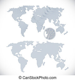 Two dotted world maps vector illustration