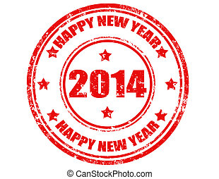 Happy New Year 2014-stamp - Grunge rubber stamp with text...