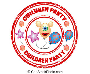 Children Party-stamp - Grunge rubber stamp with text...