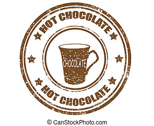Hot Chocolate-stamp - Grunge rubber stamp with text Hot...