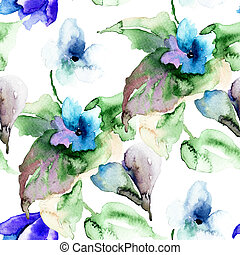 Watercolor illustration of Violet flowers, seamless...
