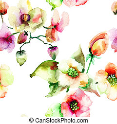 Colorful Summer flowers - Seamless wallpaper of Colorful...