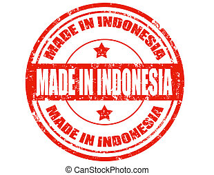 Made in Indonesia - Grunge rubber stamp with text Made in...