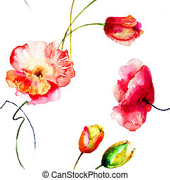 Poppy andTulips flowers - Seamless wallpaper with Poppy...