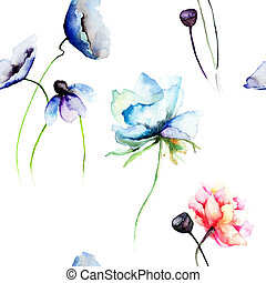 Stylized blue and red flowers