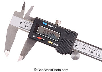 Caliper - Macro of digital caliper isolated on white