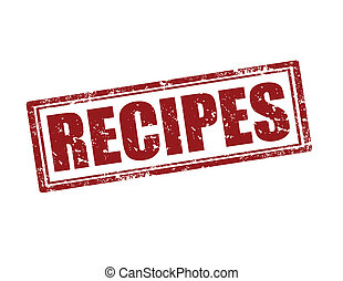 Recipes-stamp - Grunge rubber stamp with text Recipes,vector...