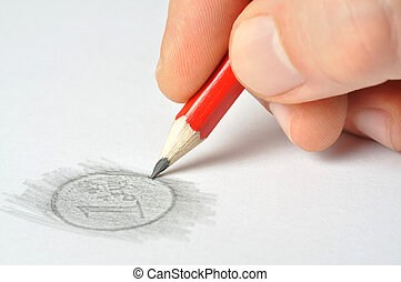 Coin - Hand with pencil drawing 1 euro coin