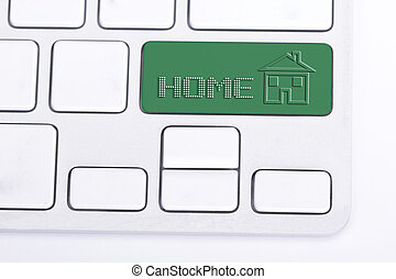 Green button for enter to home internet keyboard with white...
