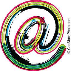 Colorful Grunge arobase symbol