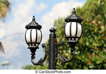 Street lamp with blurry background