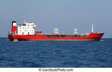 Red oil tanker - Red tanker designed for transporting crude...