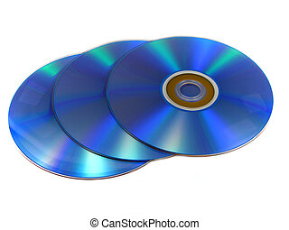DVD or CD discs - Three DVD or CD discs isolated on white