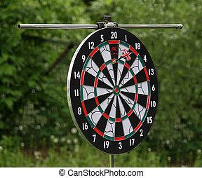Dartboard with one dart