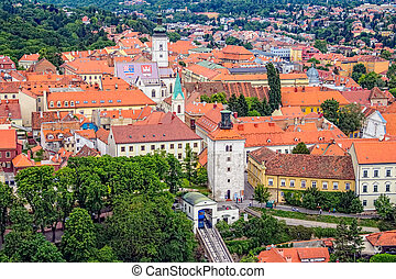Old upper town in Zagreb with Church of St Mark, funicular...