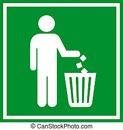 Do not litter, vector green sign