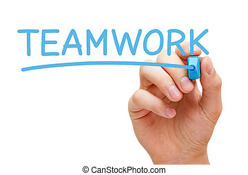 Teamwork Blue Marker - Hand writing Teamwork with blue...