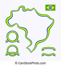 Colors of Brazil - Outline map of Brazil Border is marked...