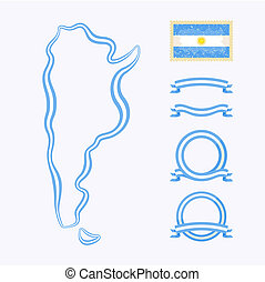 Colors of Argentina - Outline map of Argentina. Border is...