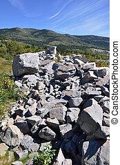 Frank Slide Disaster in Alberta - Huge boulders that slid...
