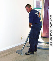 Carpet steam cleaning, Tech is getting apartment ready to be...