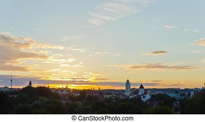 view of the city of Vilnius, Lithuania, time-lapse sunset