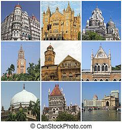 Bombay landmarks collage, India