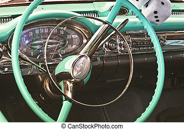 1950's Car Dashboard - Macro of a vintage American...