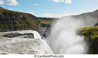 massive waterfall gulfoss - Gullfoss waterfall, over the...