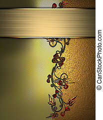 gold Background with abstract plant pattern and gold...