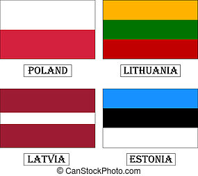 Baltic countries flags - Flags: Poland, Lithuania, Latvia,...
