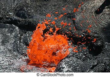 Volcano Erta Ale in Ethiopia Lava bubble - Volcano Erta Ale...