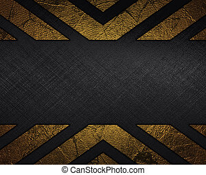 Black Background with abstract Gold pattern and nameplate -...