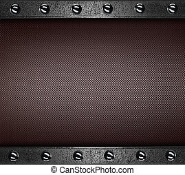 Brown Background with metal plates at the edges with rivets...