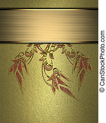 Beautiful gold Background with abstract plant pattern and...