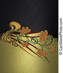 black Background with abstract plant pattern and gold...