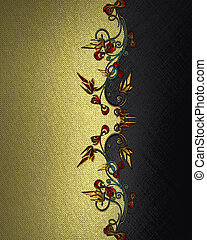 gold Background with abstract plant pattern and black name...